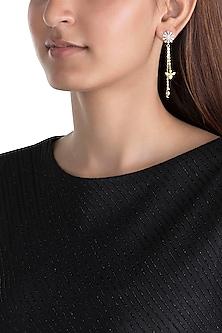 Gold Plated Zircon Long Earrings by Brashbug
