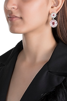 Gold Plated Zircon Stone Floral Long Earrings by Brashbug