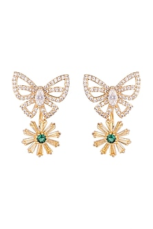 Gold Plated Zircon Stone Floral Earrings by Brash Bug