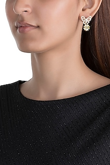 Gold Plated Zircon Stone Floral Earrings by Brashbug
