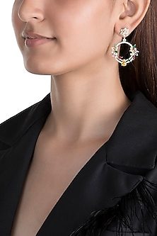 Gold Plated Earrings With Zircon Stones by Brash Bug