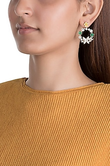 Gold Plated Long Earrings With Zircon Stones by Brash Bug