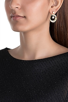 Gold Plated Zircon Stone Moon Earrings by Brashbug