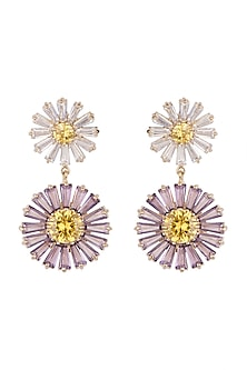 Gold Plated Zircon Floral Earrings by Brashbug