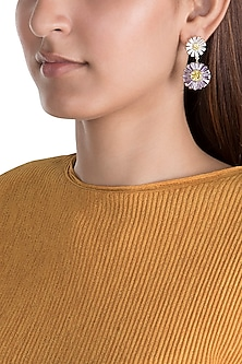 Gold Plated Zircon Floral Earrings by Brash Bug