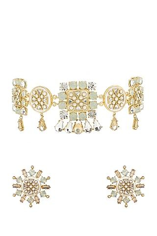 Gold Finish Kundan Necklace Set by BBLINGG