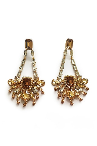 Gold Finish Pearl Earrings by BBLINGG