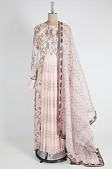 Light Pink Printed Anarkali Set by Bandana Narula