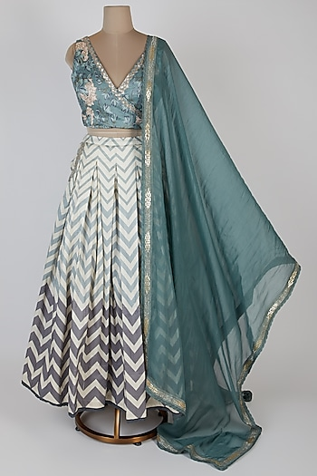 Green Printed Lehenga Set by Bandana Narula