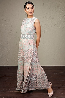 Mint Green Printed Jumpsuit by Bandana Narula