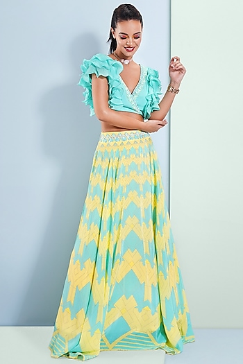 Aqua Blue & Summer Yellow Printed Lehenga With Blouse by Bandana Narula