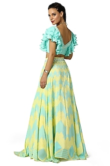 Aqua Blue & Summer Yellow Printed Lehenga With Blouse by Bandana Narula
