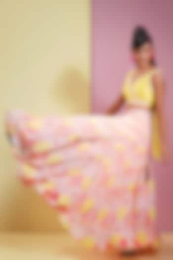 Candy Pink & Summer Yellow Lehenga With Embellished Blouse by Bandana Narula