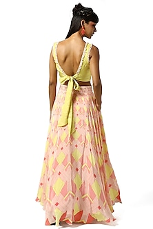 Candy Pink & Summer Yellow Lehenga With Embellished Blouse by Bandana Narula