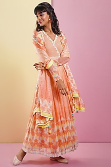 Peach Embellished & Printed Anarkali Set by Bandana Narula