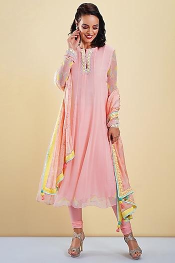 Blush Pink Embellished & Printed Anarkali Set by Bandana Narula