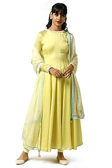 Sunshine Yellow Embellished Anarkali Set by Bandana Narula