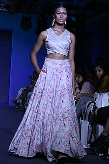 Blush Pink Printed Skirt With Embroidered Crop Top by Bandana Narula
