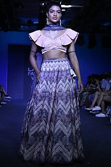Cobalt Blue Embroidered Lehenga Set by Bandana Narula