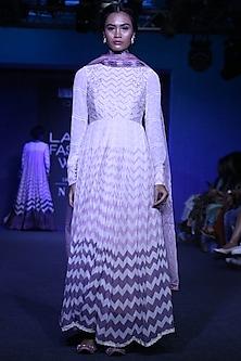 Off White Printed & Embroidered Anarkali Set by Bandana Narula