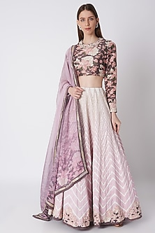 Blush Pink & Purple Printed Embroidered Lehenga Set by Bandana Narula