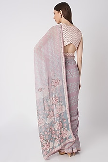 Mauve Embroidered Saree Set by Bandana Narula