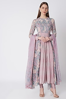 Purple Printed Embroidered Anarkali Set by Bandana Narula