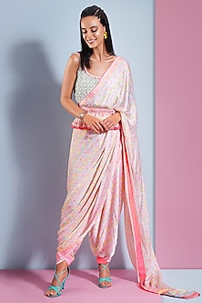 Candy Pink Printed & Embellished Saree Set by Bandana Narula