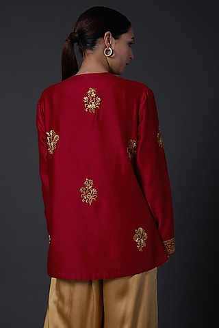 Red Zari Embroidered Tunic by Balance by Rohit Bal