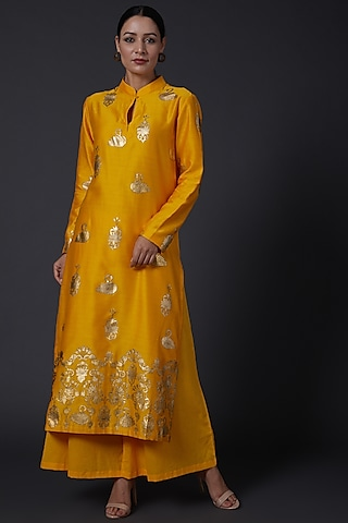 Yellow Printed Kurta With Pants by Balance by Rohit Bal