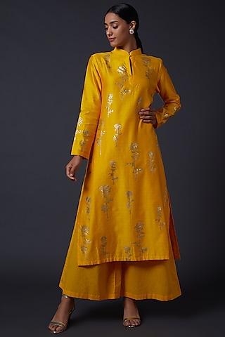 Yellow Block Printed Kurta Set by Balance by Rohit Bal