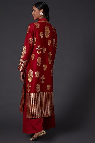 Red Block Printed Kurta Set by Balance by Rohit Bal