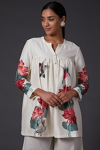Ivory Digital Printed Tunic by Balance by Rohit Bal