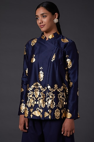 Navy Blue Block Printed Tunic by Balance by Rohit Bal
