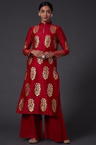 Red & Gold Block Printed Kurta With Palazzo Pants by Balance by Rohit Bal