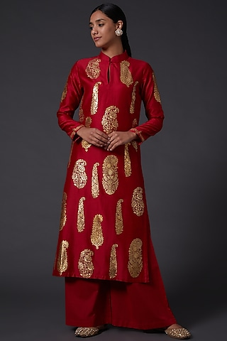 Red & Gold Block Printed Kurta With Pants by Balance by Rohit Bal