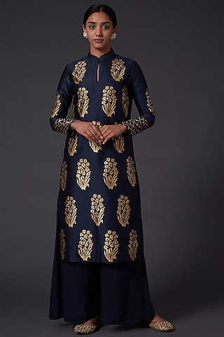 Indigo Blue Block Printed Kurta Set by Balance by Rohit Bal