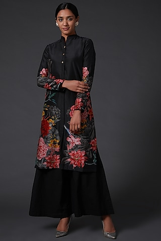 Black Printed Kurta Set by Balance by Rohit Bal