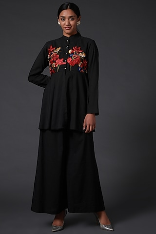 Black Embroidered Peplum Top With Palazzo Pants by Balance by Rohit Bal