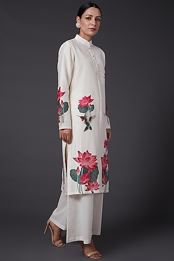 Ivory Printed & Embroidered Kurta Set by Balance by Rohit Bal