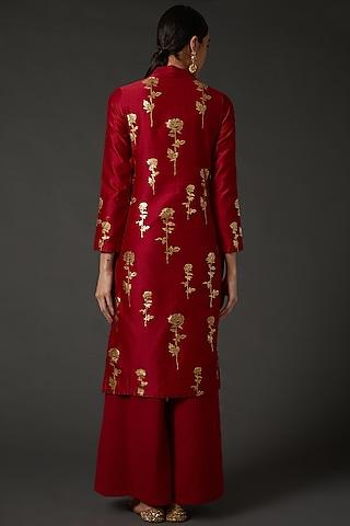 Red & Gold Block Printed Kurta Set by Balance by Rohit Bal