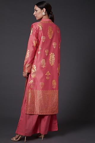 Coral Pink Block Printed Kurta Set by Balance by Rohit Bal