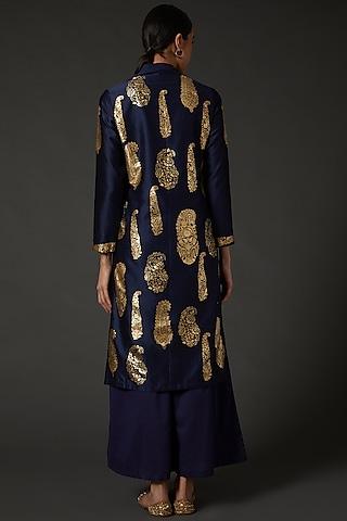 Indigo Blue & Gold Block Printed Kurta Set by Balance by Rohit Bal