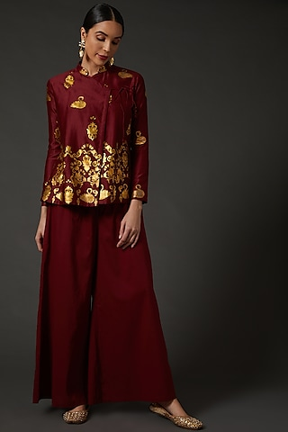 Wine & Gold Block Printed Tunic by Balance by Rohit Bal