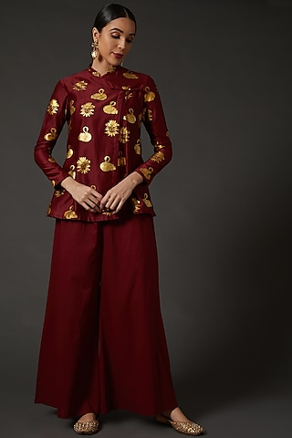 Wine Block Printed Tunic by Balance by Rohit Bal