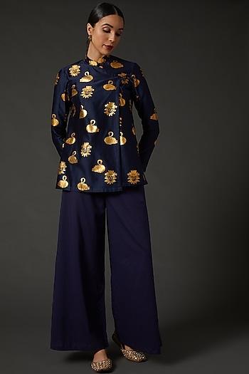 Indigo Blue Block Printed Tunic by Balance by Rohit Bal