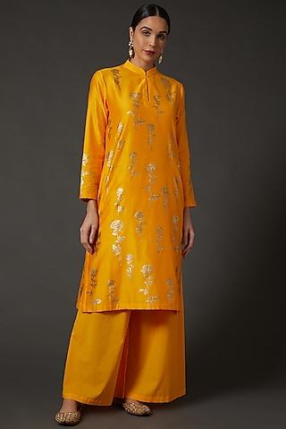 Yellow & Gold Block Printed Kurta Set by Balance by Rohit Bal