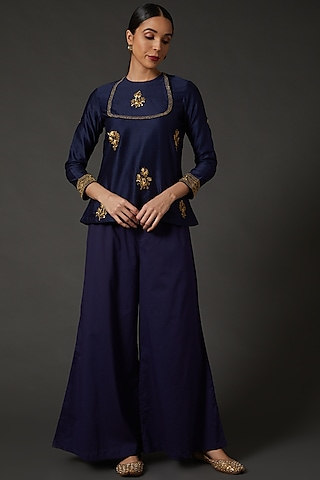 Indigo Blue Embroidered Tunic by Balance by Rohit Bal