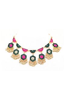 Gold Finish Thread Embroidered Necklace by Bauble Bazaar