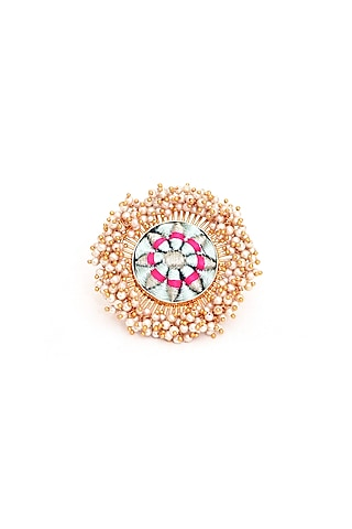 Gold Finish Pearls Ring by Bauble Bazaar